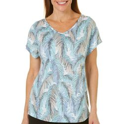 Coral Bay Womens Palm Leaf Burnout V-Neck Top