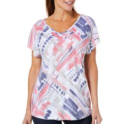 Coral Bay Womens Abstract Geometric Burnout Top