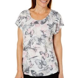 Coral Bay Womens Zebra Butterfly Burnout Top