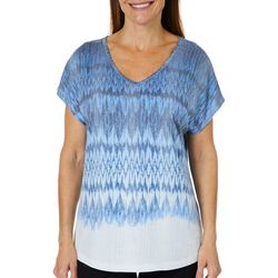 Coral Bay Womens Ikat Chevron Burnout Top