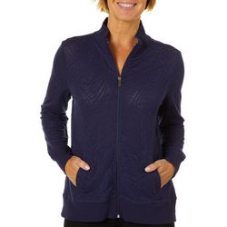 Coral Bay Energy Womens Burnout Palm Print Zip Up Jacket