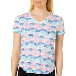 Coral Bay Womens Tropical Shell Print Burnout Top