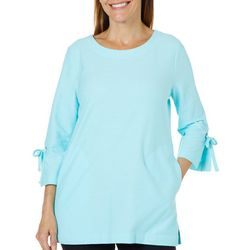 Coral Bay Energy Womens Solid Tie Sleeve Pocket Top