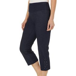 Coral Bay Energy Womens Denim Lace-Up Hem Capris