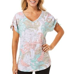 Coral Bay Womens Tropical Palm Ruched Shoulder Top