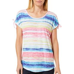 Coral Bay Womens Rainbow Striped Tie Sleeve Top