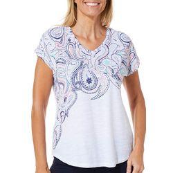 Coral Bay Womens Vibrant Paisley Print T-Shirt