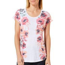 Coral Bay Womens Mirrored Floral Print Top