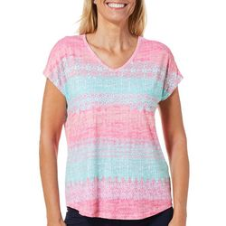 Coral Bay Womens Striped Medallion Print T-Shirt