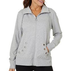 Coral Bay Womens Solid Embellished Grommet Jacket