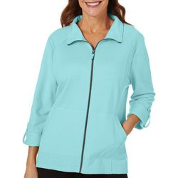 Coral Bay Energy Womens Solid Terry Zip Up Jacket