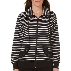 Coral Bay Womens Striped Grommet Jacket