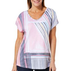 Coral Bay Womens Abstract Stripes Burnout Top