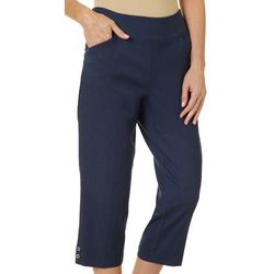 Coral Bay Womens Relaxed Pull On Grommet Hem Capris