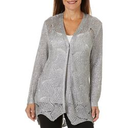 Coral Bay Womens Glitzy Knit Long Sleeve Cardigan