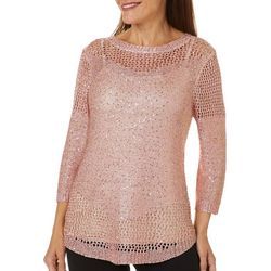 Coral Bay Womens Glitzy Pull Over Long Sleeve Sweater