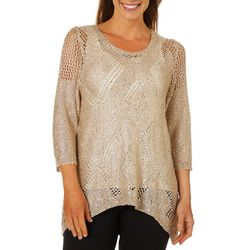 Coral Bay Womens Diamond Open Knit Sharkbite Hem Top
