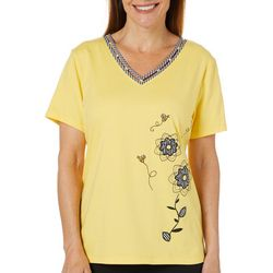 Coral Bay Womens Embroidered Floral Bumblebee Gingham Top