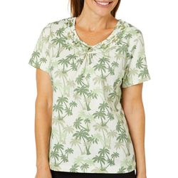 Coral Bay Womens Palm Print Ring Neck Top
