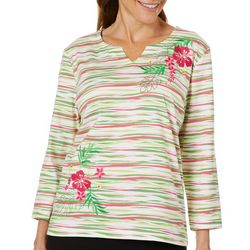 Coral Bay Womens Embroidered Hibiscus Striped Top