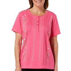 Coral Bay Womens Embroidered Wavy Floral Top