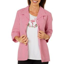 Coral Bay Womens 2-pc. Gingham Flamingo Embellished Set