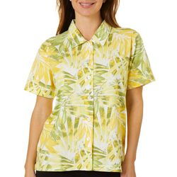 Coral Bay Womens Mixed Leaf Print Button Down Top