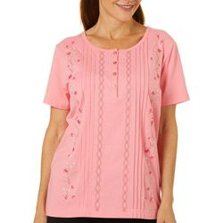 Coral Bay Womens Floral Embroidered Pintuck Short Sleeve