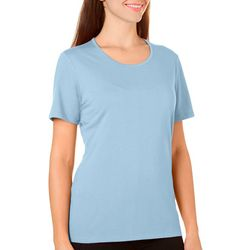 Coral Bay Womens Solid Crew Neck Short Sleeve Top