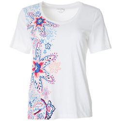 Coral Bay Womens Floral Screen Print Crew Neck Top