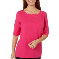 Coral Bay Womens Scalloped Boat Neck Solid Top