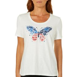 Coral Bay Womens Americana Embellished Butterfly Top
