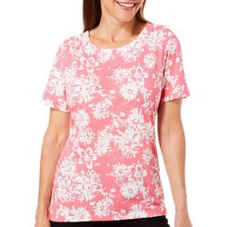 Coral Bay Womens Floral Button Shoulder Top