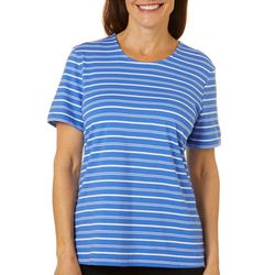 Coral Bay Womens Horizontal Stripe Round Neck Top
