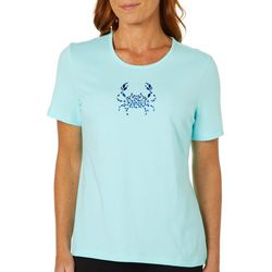 Coral Bay Womens Embellished Jewel Crab Top