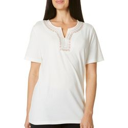 Coral Bay Womens Staycation Embellished Split Neck Top