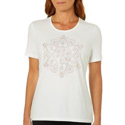 Coral Bay Womens Embellished Jewel Shining Medallion Top
