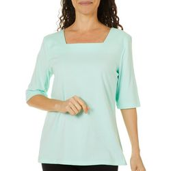 Coral Bay Womens Square Neck Solid Top