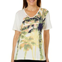 Coral Bay Womens Tropical Palm Tree Graphic V-Neck Top