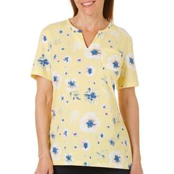 Coral Bay Womens Staycation Floral Split Neckline Top