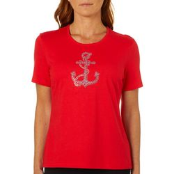 Coral Bay Womens Embellished Jewel Anchor Top