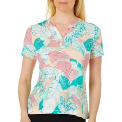 Coral Bay Womens Palm Leaf Henley Top