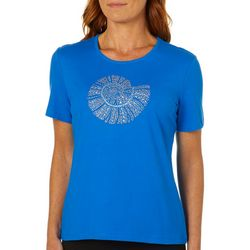 Coral Bay Womens Embellished Nautilus Shell Top