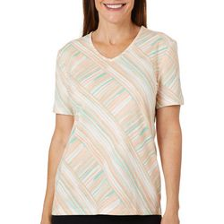 Coral Bay Womens Crossing Stripes V-Neck Top