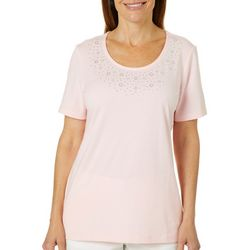 Coral Bay Womens Cascade Hearts Jeweled Neck Top