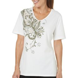 Coral Bay Womens Embellished Paisley Print V-Neck Top