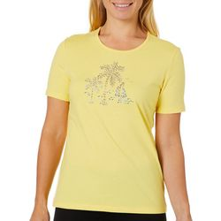 Coral Bay Womens Embellished Palm Trees & Sailboat