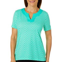 Coral Bay Womens Geometric Chevron Print Short Sleeve Top