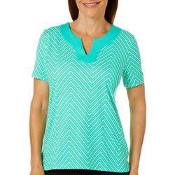 Coral Bay Womens Geometric Chevron Print Short Sleeve