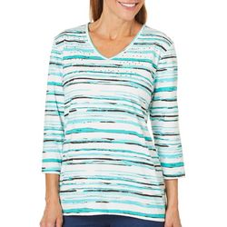 Coral Bay Womens Embellished Aqua Blue Striped Top